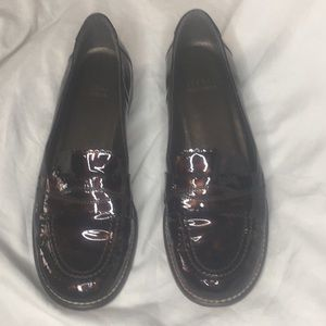Stuart Weitzman Penny loafers with gold heel